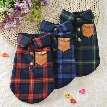 Warm Pet Dog Clothes for Small Dogs Clothing Plaid Winter Dog Coats Jacket Pet Chihuahua Clothes 10dY40