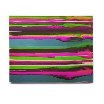 "Miranda Mol ""Multicolor Sunset Pink Teal"" Pink Teal Abstract Stripes Watercolor Painting Birchwood Wall Art"