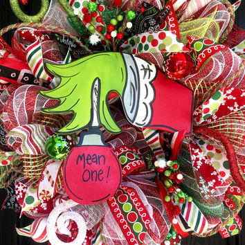 Grinch wreath, Christmas deco mesh wreath, Christmas Grinch wreath, holiday wreath, front door wreath, Grinch deco mesh wreath, Grinch decor