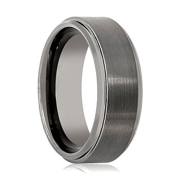 Aydins Tungsten Carbide Mens Wedding Band Gun Metal Brushed 8mm Tungsten Ring