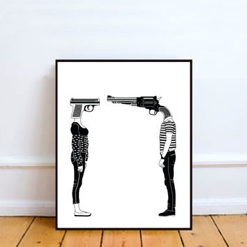 No I don't Have a Gun, Wall Art Prints, Modern Decor, Black and White Prints, Wall Decor, Wall Prints, Home Decor.