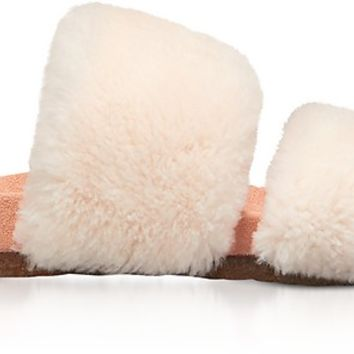 Tory Burch Sheldon Shearling Two-Band Slide Sandals