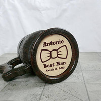 Groomsmen gift ideas Personalized Beer Mug Wooden Beer Mug Tankard Father day Best Man Groomsman Gifts for men Dad Valentines gifts for him