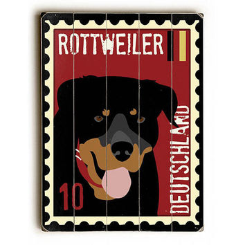 Deutschland Rottweiler Postage Stamp by Artist Ginger Oliphant Wood Sign