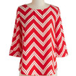 ModCloth Mid-length 3 Amaryllis Adventure Top in Chevron Dots