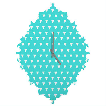 Bianca Green Geometric Confetti Teal Baroque Clock