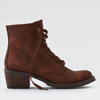 AEO Lace-Up Lug Bootie, Tan