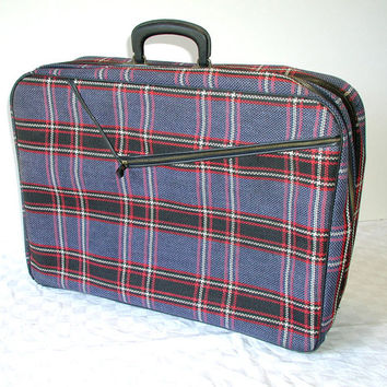Vintage Plaid Suitcase Blue - Black & Red Travel Bag