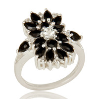 925 Sterling Silver Black Onyx And White Topaz Gemstone Cluster Statement Ring