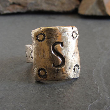 Rustic unisex initial ring // custom initial ring / personalized ring / monogram ring / mens initial ring / bronze ring / primitive ring