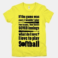 I Love Softball Softball