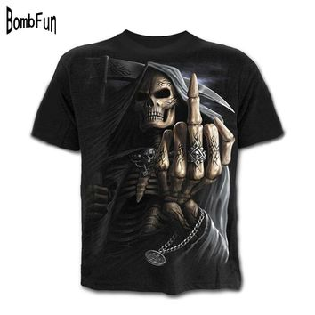 BombFun Fashion Men T Shirts Motorcycle Punk Tees Black Skulls 3d Print T-shirt Hip Hop Vintage T-shirts Casual Summer Tops