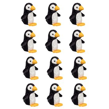 "12 Pack Penguin Mini 4"" Small Stuffed Animals, Bulk Bundle Zoo Animal Toys, Arctic Party Favors for Kids"