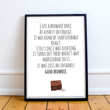 Leslie Knope Insanely Good Brownie Quote Print Instant Download A4