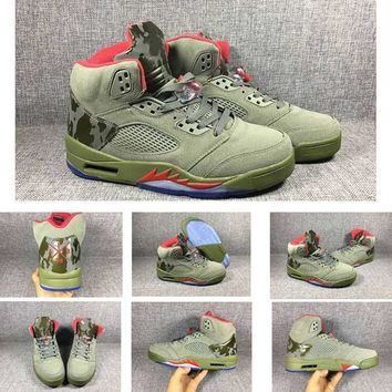 2017 Retro 5 CAMO Basketball Shoes Men Dark Stucco Fire Red Camouflage trophy Room 5S V Athletic Training Shoes With Box US8-13