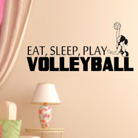Eat Sleep Play Girl's Volleyball Vinyl Wall Decal Sticker Art Sports
