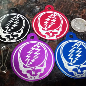 "1 Grateful Dead 1.5"" Steal Your Face Laser Engraved Anodized Aluminum Dog Tag"