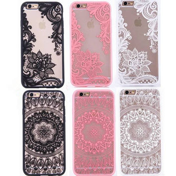 Sexy Lace Floral Paisley Mandala Palace Henna Phone Cases For iphone 7 Plus 6 6s Plus 5 SE 5s Vintage Flowers Pattern Back Cover