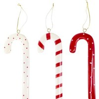 SALLY FOSTER Ceramic Candy Cane Ornaments - Set Of 3
