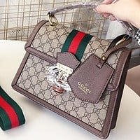 GUCCI New fashion pearl diamond bee more letter print leather shoulder bag crossbody bag handbag Coffee
