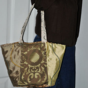 Mint and Sage Reversible Bag - Handbag Handmade by The Hippie Patch
