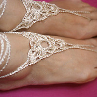 Barefoot Sandles, Foot lace sexy nude shoes, Foot jewelry, Wedding, Beach sandals, Belly dance,Yoga, Anklet