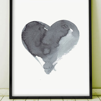 Watercolor Painting Abstract Art Painting Original Art Grey Gray Minimal Art Ink Heart Love Kunst Monochromatic Art Geometric GICLEE PRINT