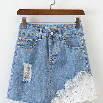 Blue Laser Cut Panel Ripped Denim Mini Skirt