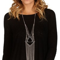 Sale-silver Geo Triangle Fringe Long Necklace