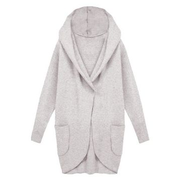 Winter Fashion Women Hoodei Coat Long sleeve Medium Long Wool Blend Loose Coat Warm Coat
