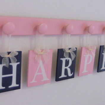Childrens Personalized Decor Name Signs Includes 6 Peg Hooks and Babies Name HARPER Navy Blue and Pastel Pink. Baby Girls Room Wall Decor
