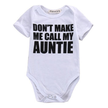Newborn Infant Baby Boy Girl Kids Cotton Short Sleeve Romper Letter Printed Jumpsuit Clothes Outfit