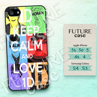 One Direction iPhone 4s case Keep Calm and Love 1D iPhone case iphone 4 case iphone 4s case iphone 5 case Hard or Soft Case-OD09