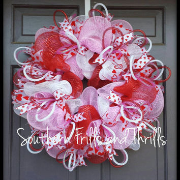 Valentine's Day Wreath, Valentine's Day Decor, Valentine's Wreath, Deco Mesh Wreath, February Decor, Valentine's Day Door Hanger