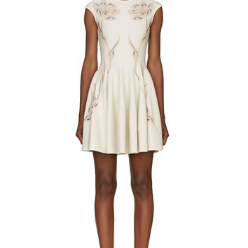 Alexander Mcqueen Ivory Jacquard Flower Knit Dress