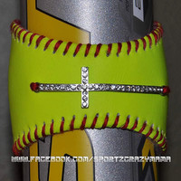 Softball Cuff with rhinestone sideways cross by SportzCrazyMama