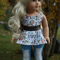 floral print sleeveless shirt, ripped skinny jeans and belt, 18 inch doll clothes, american girl, maplelea