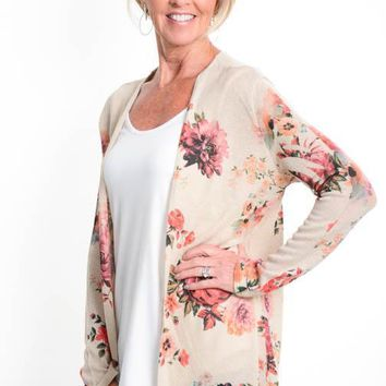 Oatmeal Floral Open Cardigan
