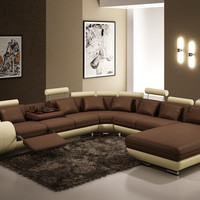 Divani Casa Contemporary Brown and Beige Bonded Leather Sectional Sofa
