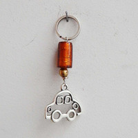 Silver car keychain, alloy car charm with orange glass bead key ring, car key holder with glass bead, mens' car key ring, mens accessories