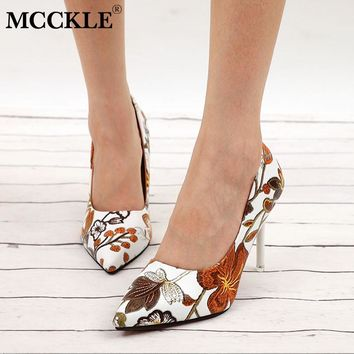 MCCKLE Women Sexy Pumps High Heels Ladies Floral Printing Shallow Slip On Pointed Toe Office Shoes Female Fashion Footwear