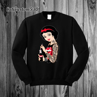 Snow White Gone Bad on Black Crewneck Sweatshirt