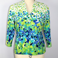 Ruby Rd Knit Top Beaded Size Large 3/4 Sleeve