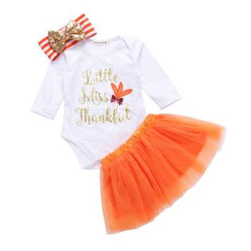 Toddler Baby Girls Thanksgiving Clothing Romper Fancy Tutu Dress Costume Outfits+Headband