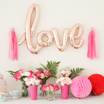 40 Inch Rose Gold LOVE Letter Balloons - Gold Mylar Balloon Letters, Baby Shower Balloon Decor, Bridal Shower Balloon Banner, Tassel Garland