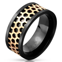 Stainless Steel Two-Toned Centered Honey Comb Band Ring with Ring Width of 9MM