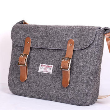 Harris Tweed Leather Charcoal Satchel for iPad or Laptop
