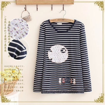Stylish Korean Round-neck Long Sleeve Cartoons Stripes Pullover Women's Fashion Tops T-shirts [6047605505]
