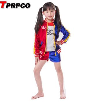 TPRPCO 3pcs/Lot Girls Harley Quinn costume jacket T-shirt Tee Daddy's Lil Monster Suicide Squad Cosplay Halloween Costume NL1411