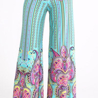 Paisley Perfection Palazzo Pants - Mint
